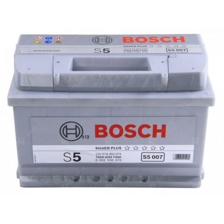 Аккумулятор залитый 6СТ-74АзЕ Bosch S5 Silver (750А) (R+)
