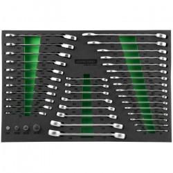 W60246139SV Набор комбинированных, разрезных, трещоточных ключей, адаптеров, 39 предметов JONNESWAY
